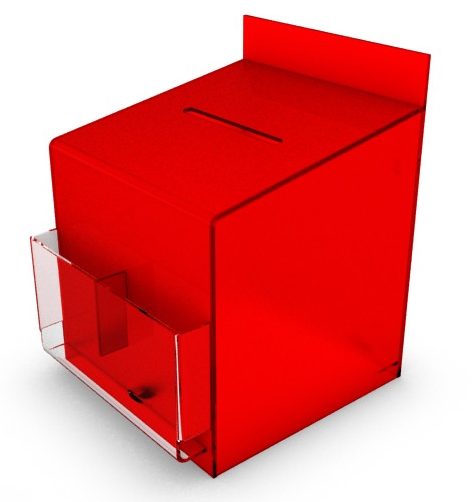 Suggestion Box Crystal Acrylic Latin Red Pockets